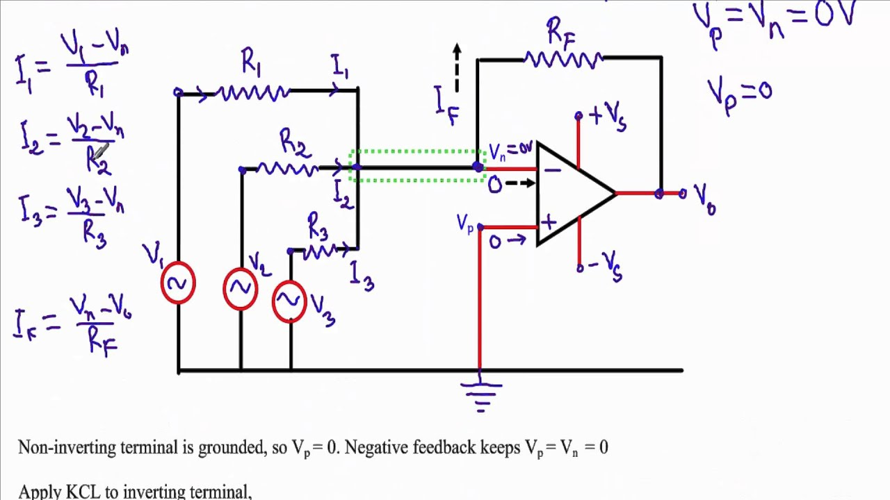 Circuit Diagram Of Non Inverting Amplifier Wiring My House Summing Adder Summer Operational