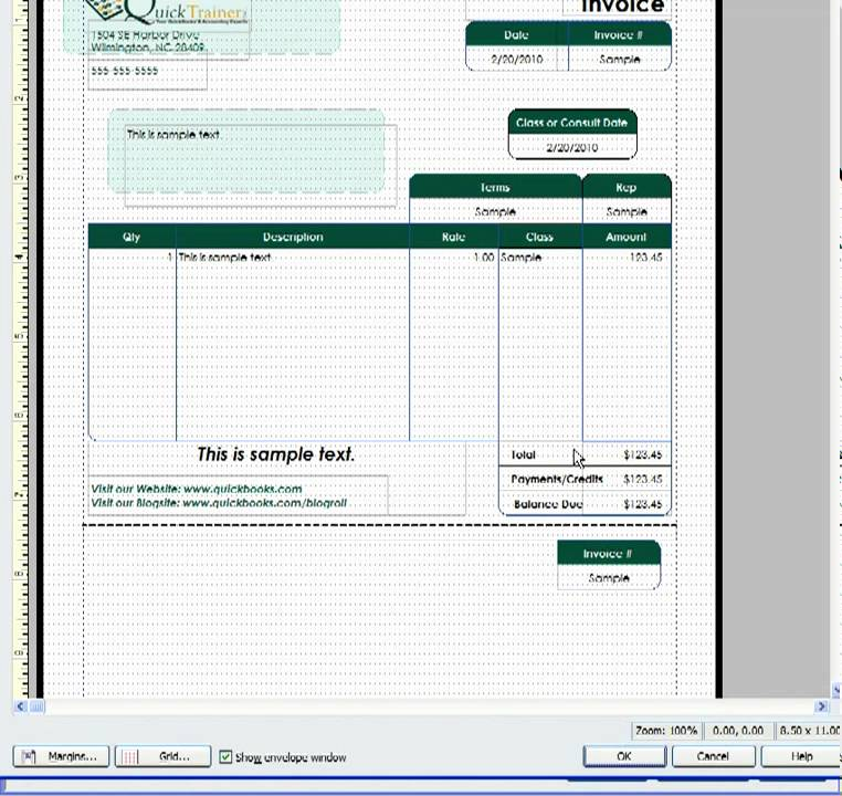 Customizing a QuickBooks Invoice Template to include a Remittance – Remittance Advice Slip