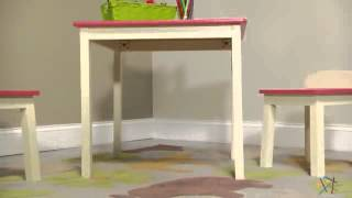 Lipper Childrens Pink & Antique White Table And 2 Stool Set - Product Review Video