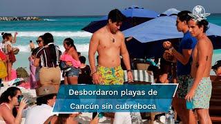 Paseantes nacionales y extranjeros, al igual que habitantes de la zona, desbordaron playas de Cancún sin cubrebocas, sin sana distancia y, en muchos casos, con consumo alcohol