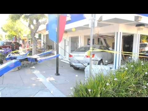 Aftermath of car crashing into downtown Los Altos bank