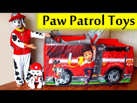 Thumbnail: 2015 GIANT Paw Patrol Marshall FIRE TRUCK TENT Filled with Paw Patrol Surprise Toys