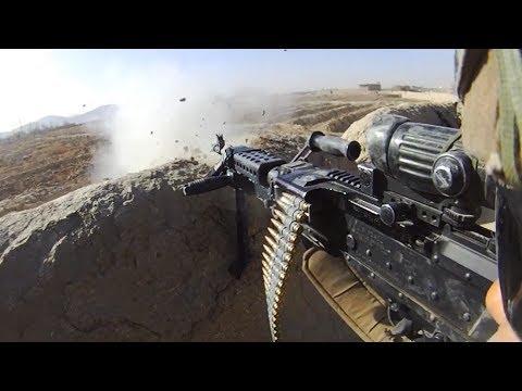 Bullets Whiz Close Over M240B Gunner During Firefight