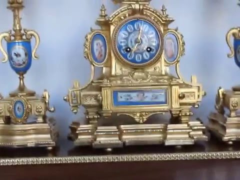 MARTI Museum SET!!! French Clock GILDED Porcelain BRONZE Antique France 4 Consoles