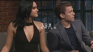 Tom Holland and Camila Mendes with Seth Meyers
