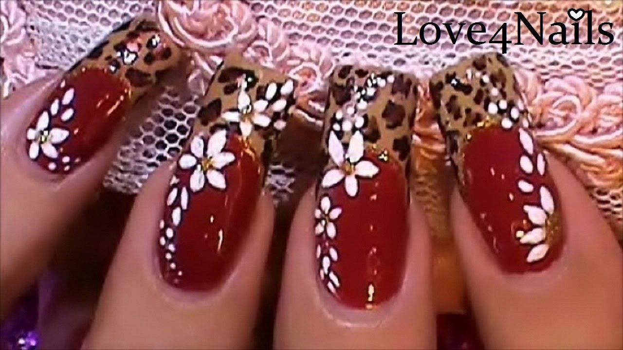 Uñas Dramaticas Rojo Leopardo Youtube
