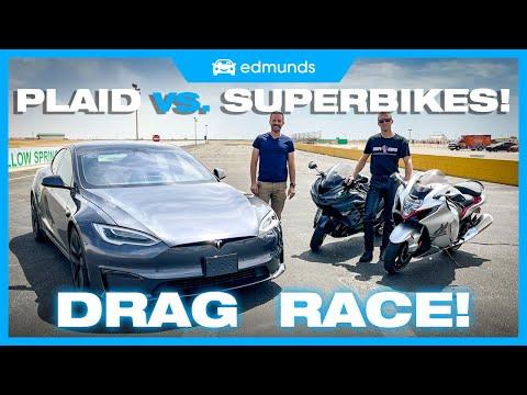 Drag Race! Tesla Model S Plaid vs. Suzuki Hayabusa vs. Kawasaki ZX-14R | 0-60, Performance & More