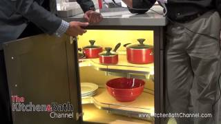 Kbis 2014: Hafele's Lighted Blind Corner Cabinet Storage Solutions