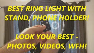 """REVIEW Geekoto 14"""" Ring Light, LED with Stand and Phone Holder 38W, 3200K-5500K, Remote Control"""