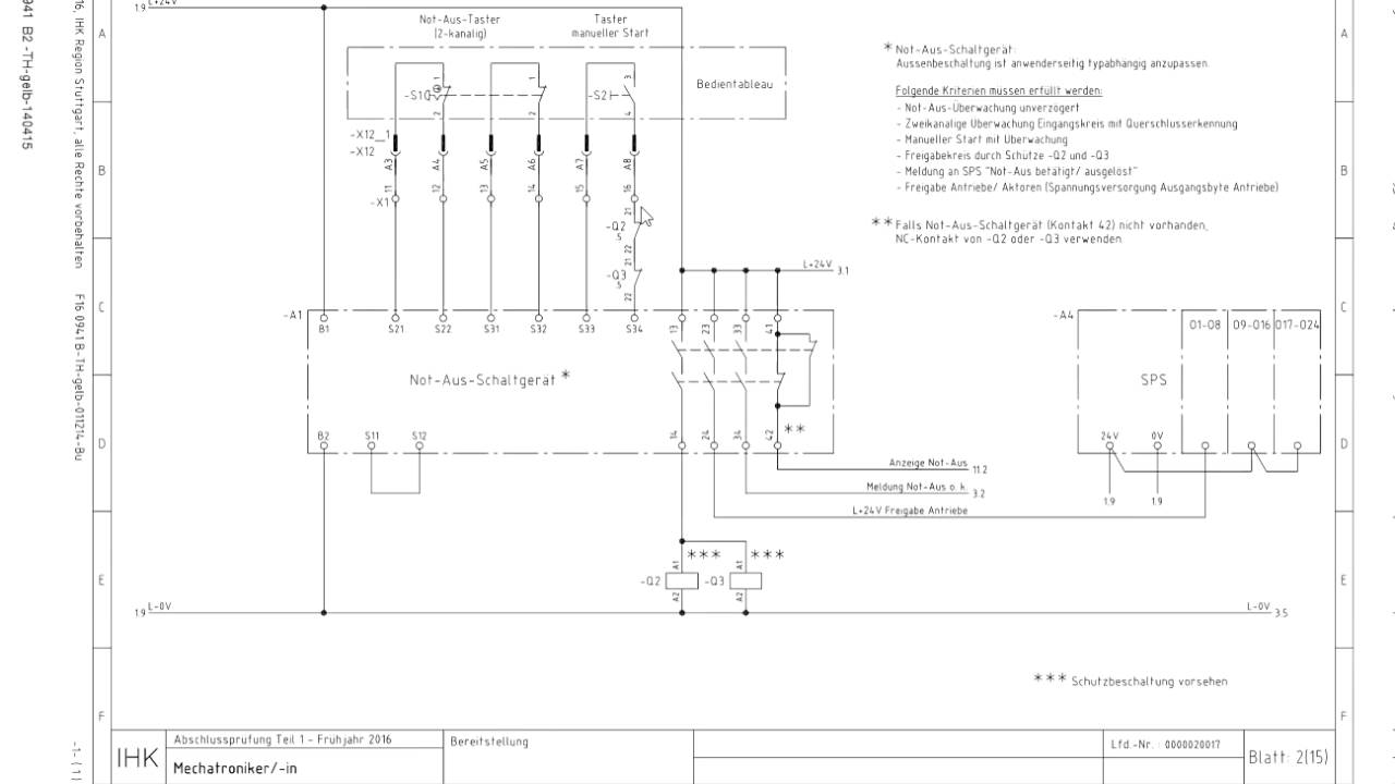 Abschlussprüfung Teil 1 Mechatroniker Not-Aus-Schaltgerät - YouTube