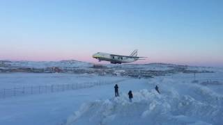 Antonov An-124 Landing at Iqaluit(An Antonov An-124 from Zurich landing at Iqaluit with a replacement engine for a SWISS Boeing 777-300ER., 2017-02-04T20:40:13.000Z)