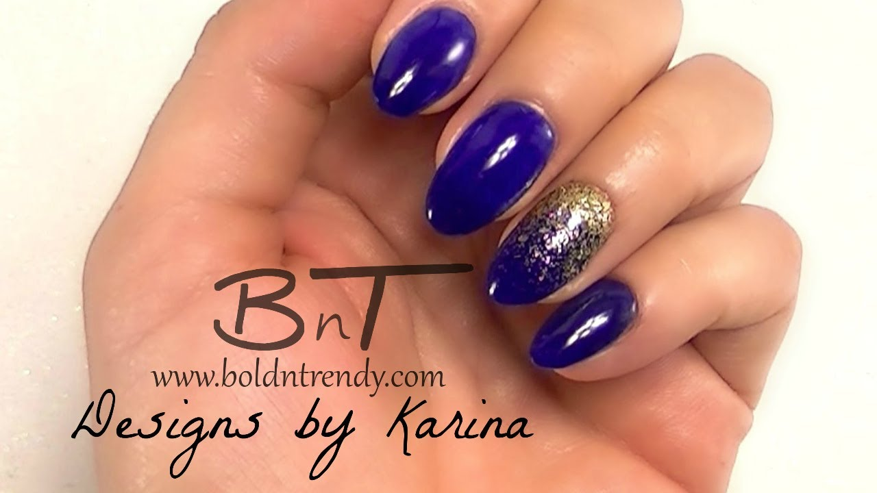 Almond-Shaped, Acrylic Nails Tutorial - Blue and Gold E065 - YouTube