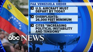 FAA issues flight restrictions amid Venezuela chaos