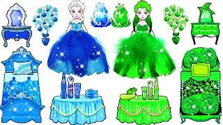 Paper Dolls Dress Up - Blue And Green Elsa Challenge Handmade Papercraft - Woa Doll Channel