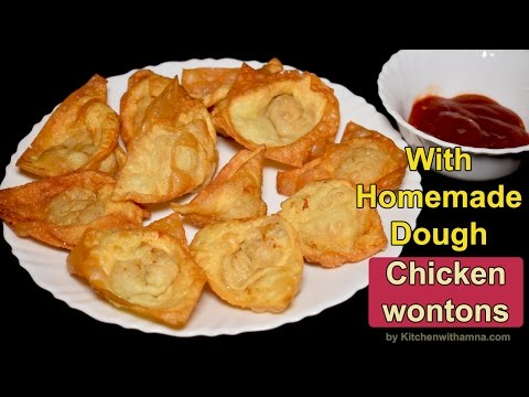Chicken Wontons Recipe With Homemade Dough - Fried Wontons Recipe by Kitchen With Amna
