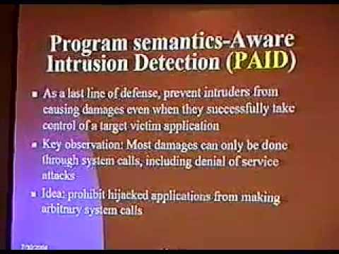 DEF CON 12 - Tzi-cker Chiueh, Program Semantics Aware Intrusion Detection