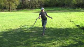 Bullwhip body wraps 1: view from the sharp end of a 12 foot whip.