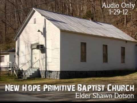 Elder Shawn Dotson preaching at New Hope Primitive Baptist Church
