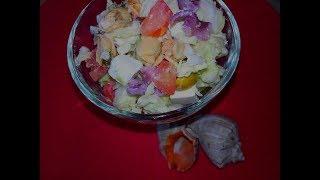 Овощной салат с брынзой и морепродуктами