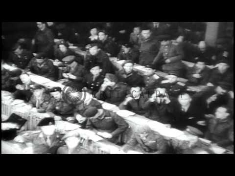 Nazi war criminals of Bergen-Belsen concentration camp are tried at British Milit...HD Stock Footage