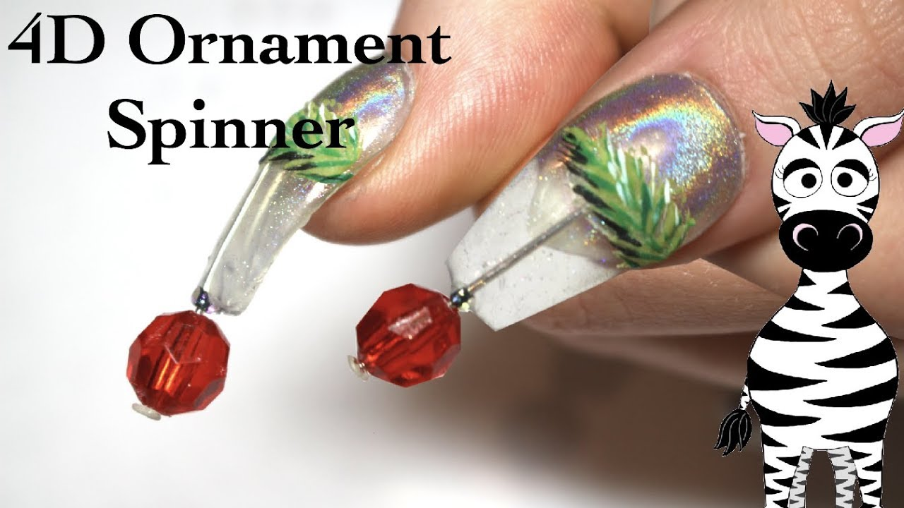 Easy 4d Ornament Spinner Acrylic Nail Art Tutorial Christmas