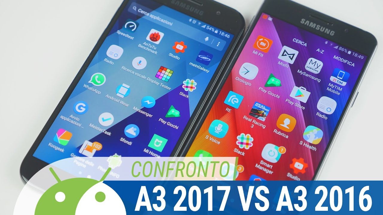 samsung galaxy a3 2017 vs a3 2016 confronto ita da tuttoandroid youtube. Black Bedroom Furniture Sets. Home Design Ideas