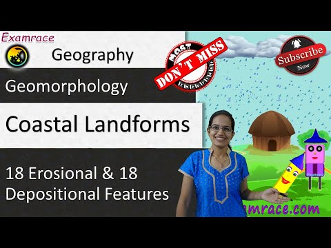 Coastal Landforms (By Waves & Currents): 18 Erosional & 18 Depositional Features