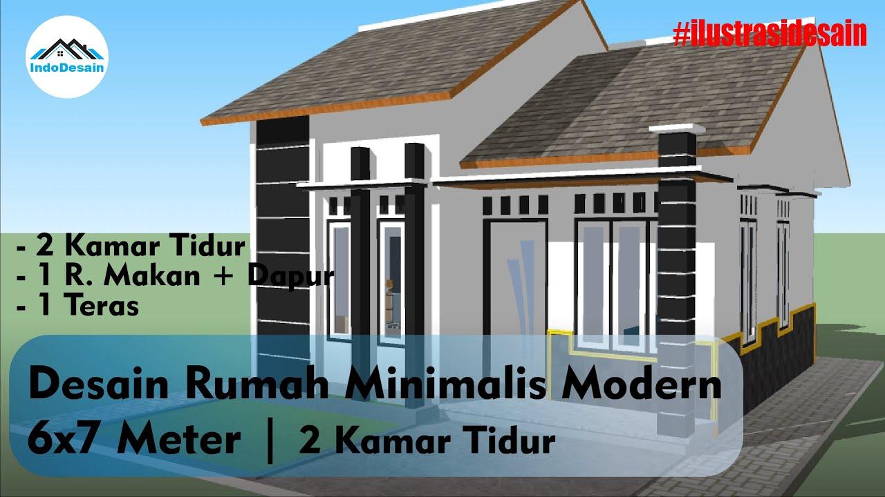 Download Desain Rumah Minimalis Modern 6x7 Meter | 2 Kamar Tidur