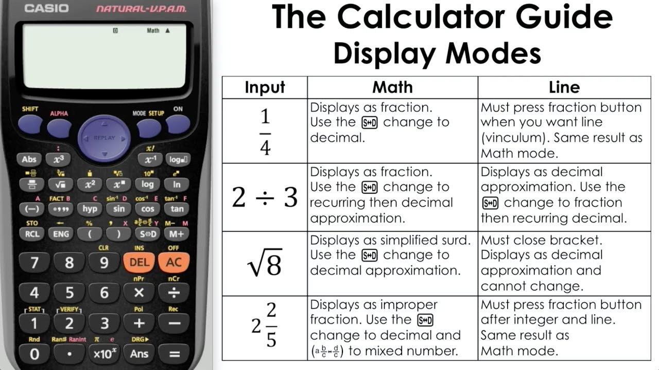 Changing Calculator Display Modes Math Vs Line Mode Casio