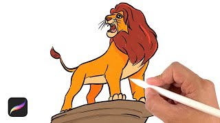 How to draw lion king - drawing tutorial