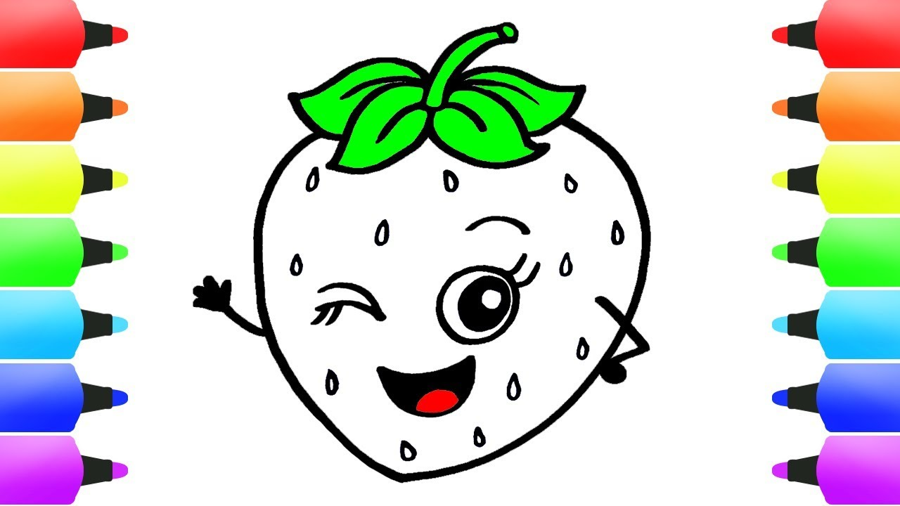 how to draw strawberry coloring pages for children paint color