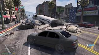 Масштабная авария на дороге в гта 5! Разбился самолет в гта 5