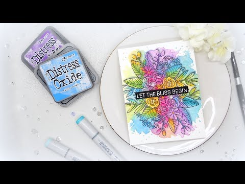 Floral Stamps with a Rainbow Watercolor background