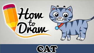 How To Draw A Cute Cat - Easy Step By Step Cartoon Art Drawing Lesson Tutorial For Kids & Beginners
