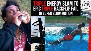 Triple Backflip Fail (After Triple Energy Drink Slam)