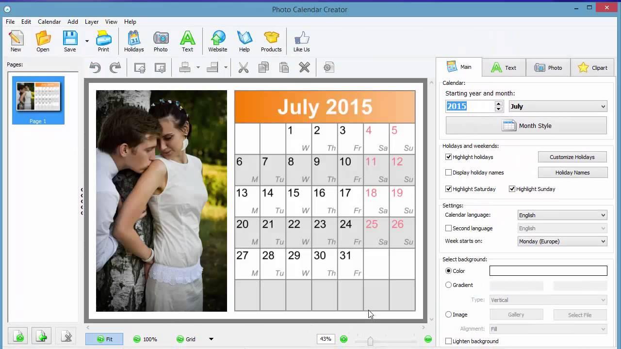 Photo Calendar Software Calendar Creator How To Make Your Own Photo Calendar For 2015 Youtube