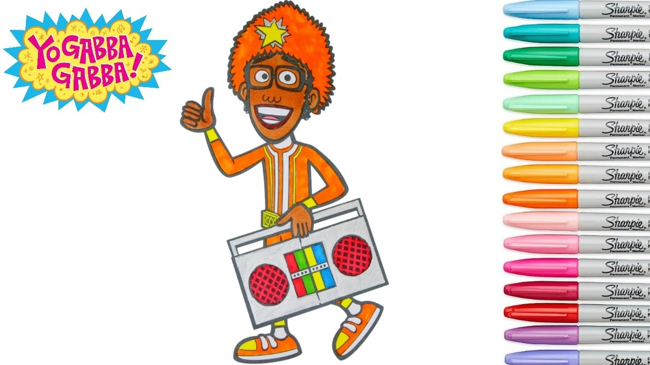 Yo Gabba Gabba Coloring Book DJ Lance Rock Colouring Pages
