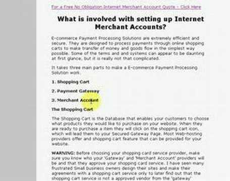 Internet Merchant Account | E-COMMERCE MERCHANT ACCOUNTS