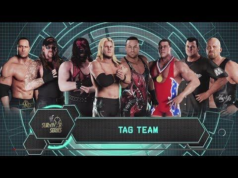 WWE 2K18 (PS4) Team WWF vs The Alliance 8 man elimination tag Survivor Series 2001
