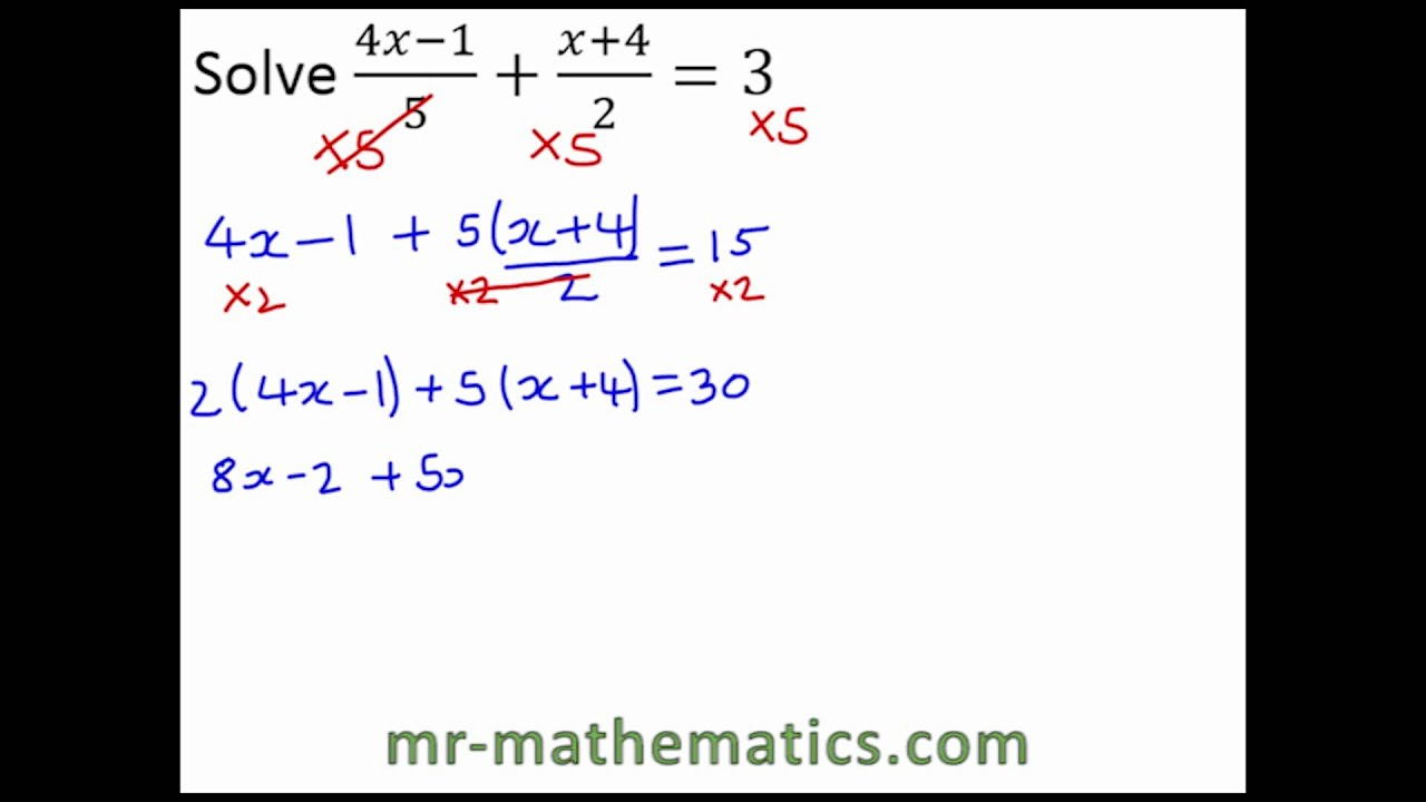 Solving Equations Involving Fractions Exam Revision YouTube – Solving Equations Involving Fractions Worksheet