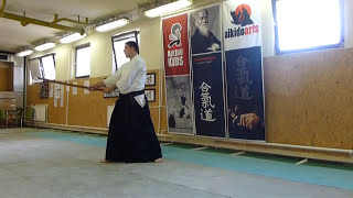 boken suburi 2 directions/zengo/ két irány [TUTORIAL] Aikido basic weapon technique 合気剣
