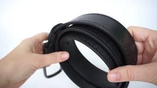 Ремень из кожи буйвола.Черный с черной строчкой (Видео-обзор)