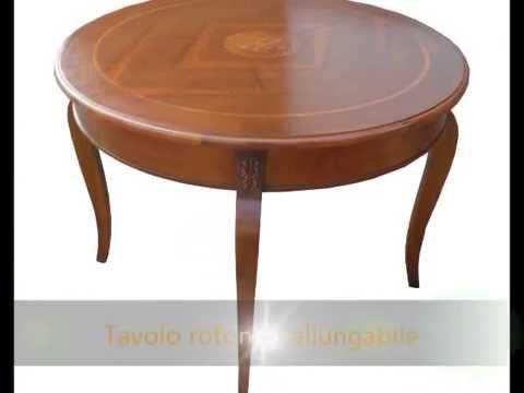 Produzione tavolo tavoli classici artigianali rotondi apribli: tavolo diametro 110 intarsiato ...