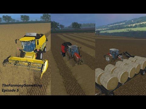 Farming Simulator 2015 | Melbury Estate | Episode 5 | Last grain harvest | Balers | And loading