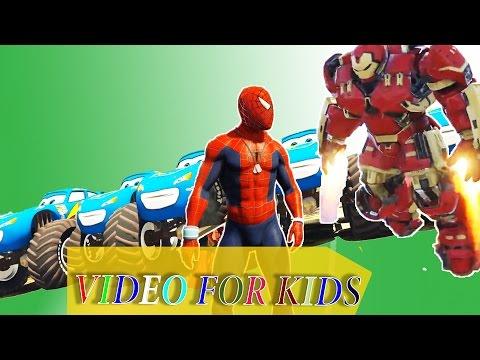 Spiderman HULK Buster nursery rhymes with Disney McQueen Monster Truck colors cars Kids songs