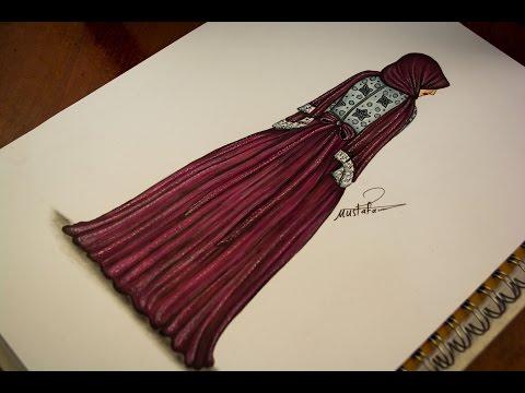 تعليم رسم وتصميم ازياء رسم فستان سهرة للمحجبات How To Draw