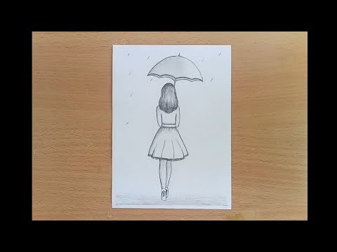 How to draw a girl with umbrella pencil sketch step by step.