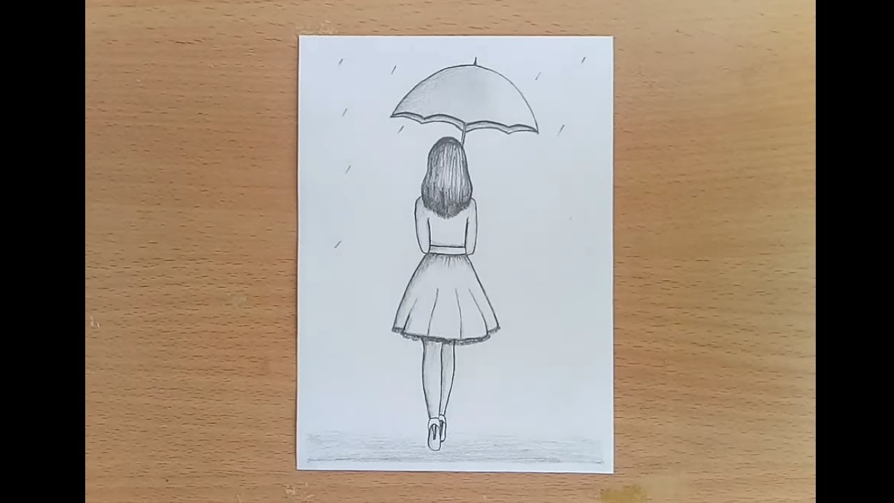 How to draw a girl with umbrella pencil sketch step by step