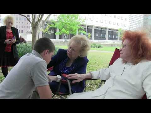 Glenda Underwood Jackson and Dr. Verna Linzey Pray over Brett at Tranquility park 3-31-13