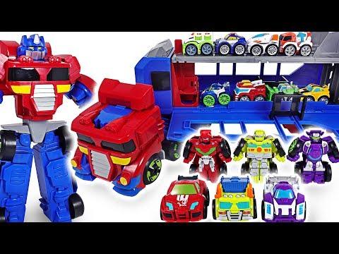 Wow! King Kong! Transformers Rescue Bots Flip Racers, Optimus Prime track trailer! Go! - DuDuPopTOY
